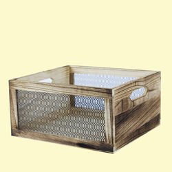 Wooden Square Shape Baskets With Grill Effect Made From Natural Wood, wooden, set of all 2 size,  wood brown