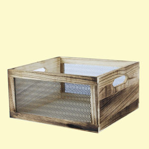 Wooden Square Shape Baskets With Grill Effect Made From Natural Wood, wooden, 28   26   13.5 cm,  wood brown