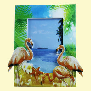 Creative Flamingo Design With Sand Effect Resin Photo Frame,  lawn green, 18.3   1.5   20 cm, ceramic