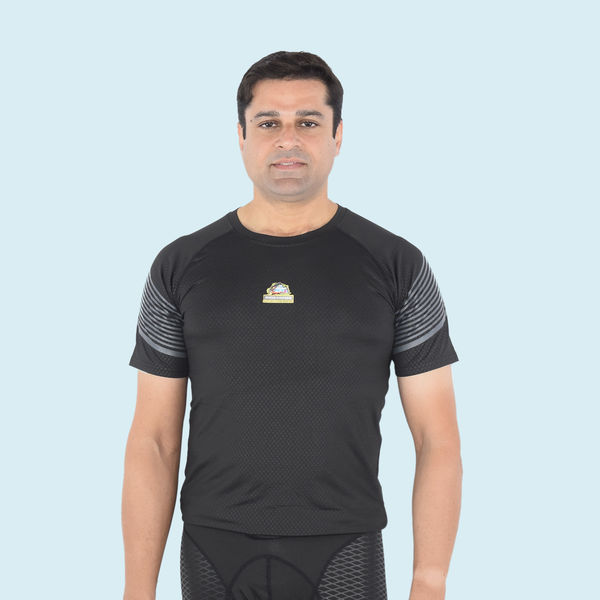 Smart Short Sleeve With Grey Strips Sports T-Shirts