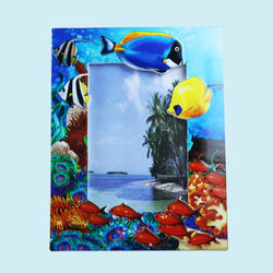 Creative Fish Design With Sand Effect Resin Photo Frame, ceramic, 22.5   1.5   17 cm,  blue