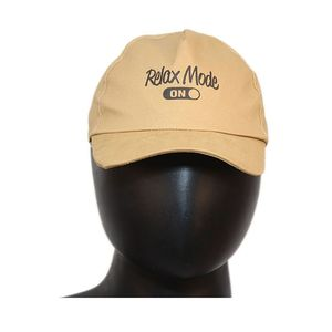 Fab5 Printed Relax Mode Slogan Velcro Cap (Khaki, Pack Of 1), khaki