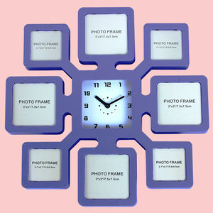 Unique 8 Photos Wall Photo Frame With Clock, plastic, 35   3.5   35 cm,  blue