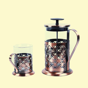 French Press Coffee Set,  metal, 2, copper  glass
