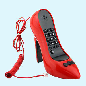 High Heel Telephone Novelty Corded Phone Home Phone Landline Phone Wired Corded Telephone Table Fixed Telephone, plastic, 17   8.5   17.5 cm,  red