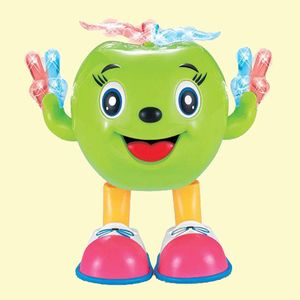 Musical Cartoon Dancing Apple With Colorful Lights Toy For Kids, plastic, 19.5   15.5   12.5 cm,  lawn green