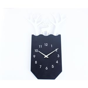 Decorative Deer Shape Wooden Wall Clock,  black, 32.4   3.2   47.4 cm, wooden