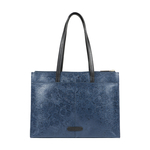 FUSCHIA 03 SB WOMENS HANDBAG FLOWER EMBOSSED,  midnight blue