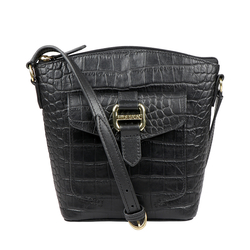 LOTUS 01 SB WOMENS HANDBAG CROCO,  black