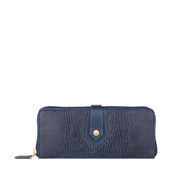 EE HONG KONG W2 RF WOMENS WALLET LIZARD,  midnight blue