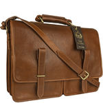 Parma Briefcase,  tan, ranchero