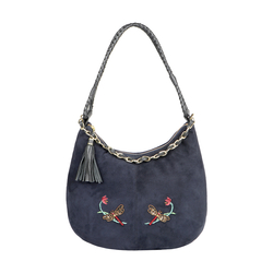 COLETTE 04 WOMENS HANDBAG SUEDE,  midnight blue