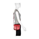 Meryl 03 Women s Handbag, E. I. Leaf Emboss Roma Split,  red