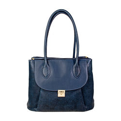 Tabit 01 Handbag, lizard,  midnight blue