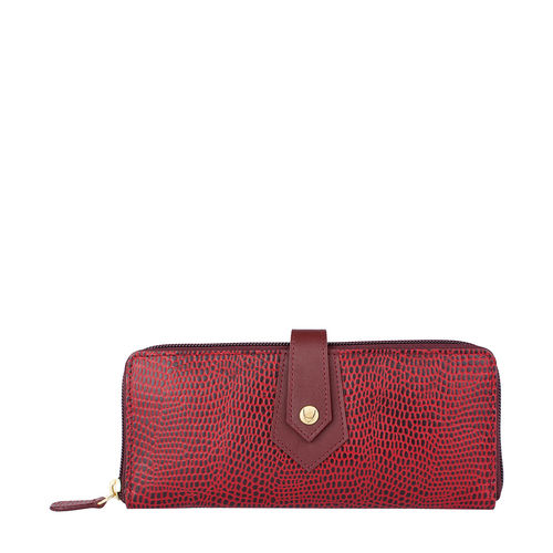 Hong Kong W2 Sb (Rfid) Women s Wallet, Lizard Melbourne Ranch,  red