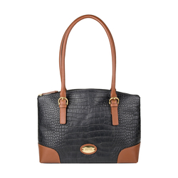 EE SATURN 01 WOMENS HANDBAG CROCO,  black