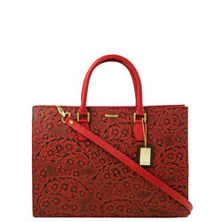 Kester Satchel, flower emboss,  red
