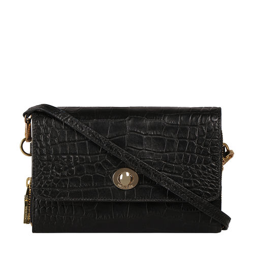 HIDESIGN X KALKI COQUETTE 01 SLING BAG CROCO,  black