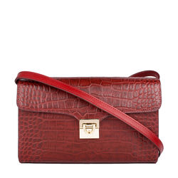 Stampa 02 Women's Handbag, Croco Melbourne Ranch,  red