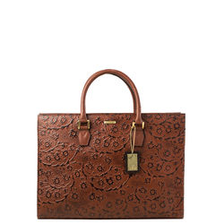 Kester Satchel, flower emboss,  brown