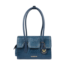 PUNK 02 WOMENS HANDBAG BABY CROCO,  midnight blue