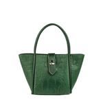 Mb Hermione Women s Handbag, Baby Croco Melbourne Ranch,  emerald green