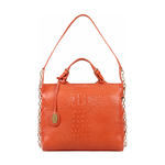 CHARLESTON 01 WOMEN S HANDBAG BABY CROCO,  lobster