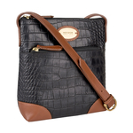 EE SATURN 02 WOMENS HANDBAG CROCO,  black