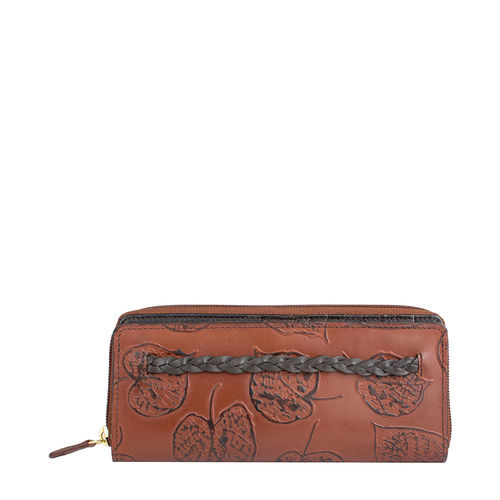 Meryl W1 Women s wallet, E. I. Leaf Emboss Roma Melbourne Ranch,  tan