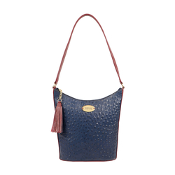 EE MOROCCO 03 WOMENS HANDBAG OSTRICH EMBOSS,  midnight blue