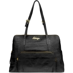 109 02 Women's Handbag, Croco,  black