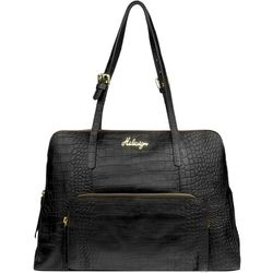 109 02 Handbag, croco,  black