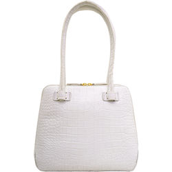 Estelle Small Handbag, croco,  white