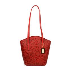 Bonn Handbag, embossed flower,  red