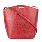 Hamburg Women s Handbag, Flower Embossed,  red