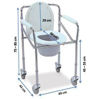 Portable commode chair with wheels (696)