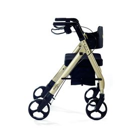 Comodita Prima Special Rollator Walker with Exclusive 16 inch Wide Ultra Comfortable Orthopedic Seat,  metallic white