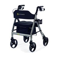 Comodita Prima Special Rollator Walker with Exclusive 16 inch Wide Ultra Comfortable Orthopedic Seat,  metallic graphite