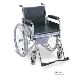 Wheelchair commode with detachable armrests and footrests