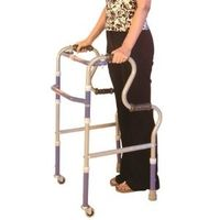 Step adjustable foldable walker with wheels from Vissco