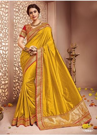 Yellow Designer Wedding Silk Saree