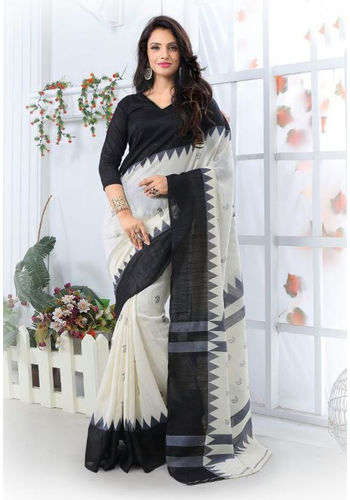 Black and White Formal Bhagalpuri Silk Saree with Blouse