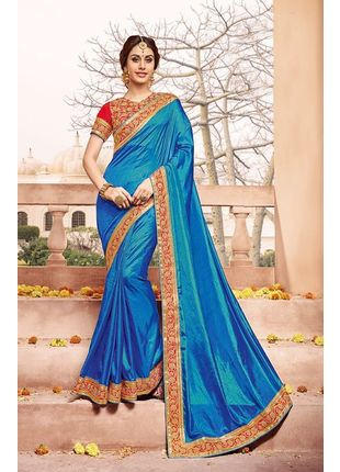 Blue Designer Wedding Silk Saree