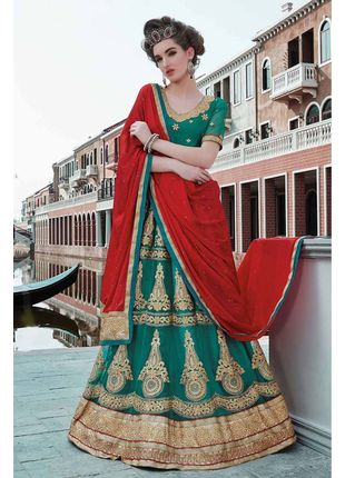 Green and Red Festive Net Embroidered Lehenga with Designer Blouse Piece and Chiffon Dupatta