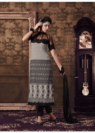 Grey and Black Embroidered Georgette Semi Stiched Straight Cut Suit