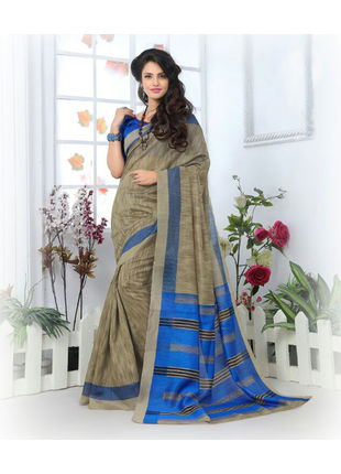 Grey and Blue Formal Bhagalpuri Silk Saree with Blouse