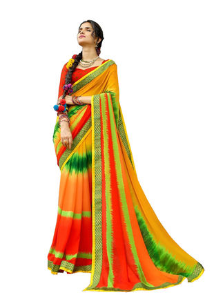 Yellow and Red Chiffon Bandhani Printed Saree