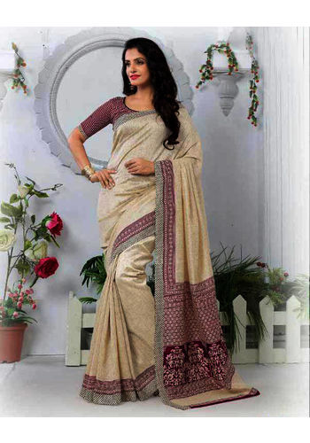 Beige Formal Bhagalpuri Silk Saree with Blouse