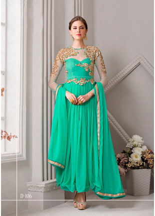 Sea Green Embroidered Georgette Semi stitched Salwar Kameez