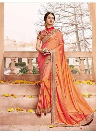 Light Red Designer Wedding Silk Saree